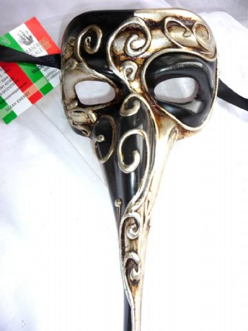Genuine Venetian Silver & Black long nose Mask